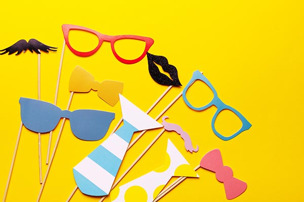 Photo Booth Props on Yellow Background