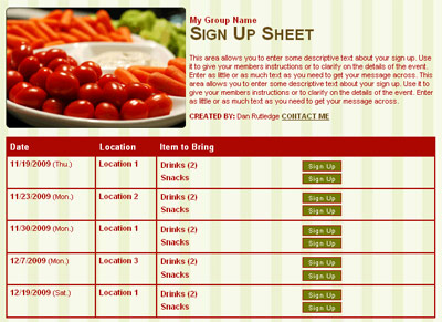 snacks vegetables party potluck sign up sheet form