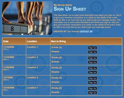 Swim meet volunteer scheduling sign up