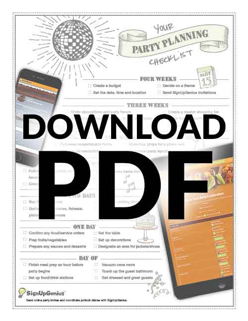 party planning planner checklist online printable download organizer