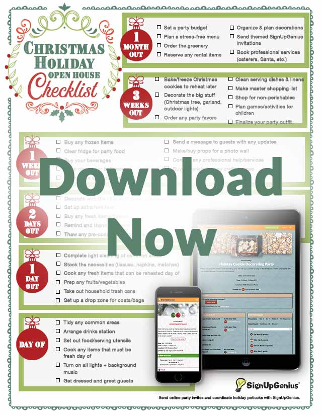 holiday open house printable planner checklist christmas party invites invitations online sign ups timeline