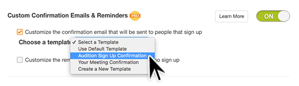 custom confirmations notifications reminders sign up sheets forms messages messaging groups