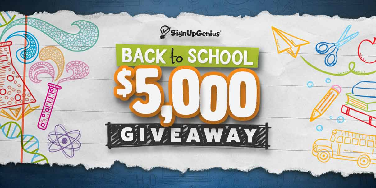 signupgenius contest giveaway $5000 back-to-school