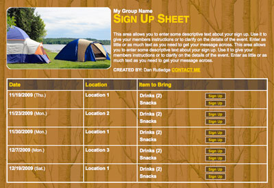 Camping food volunteer sign up