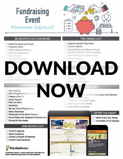 fundraising events planning checklist timeline printable ideas tips gala benefit dinner