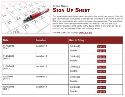 Parent-teacher conference calendar sign up form