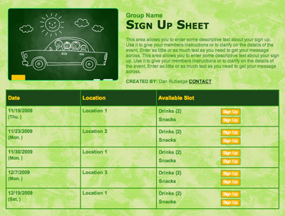 Online carpool volunteer sign up form