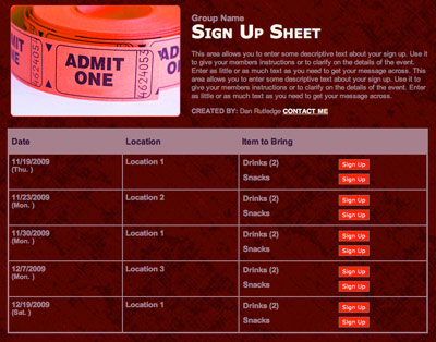 soccer snack sign up sheet template