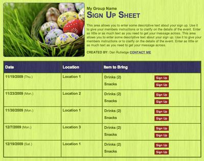 Spring Easter egg hunt party volunteer sign up form