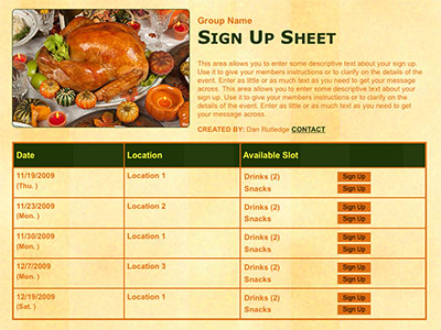 Thanksgiving or harves potluck classroom party volunteer sign up