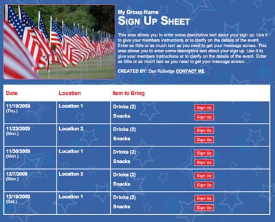 4th Fourth of July celebration volunteer sign up