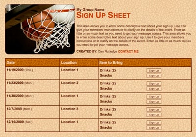 Basketball team party sign up for snacks and volunteers