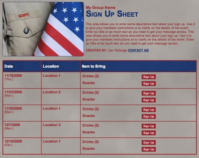 Boy Scouts online volunteer schedule or meeting snacks