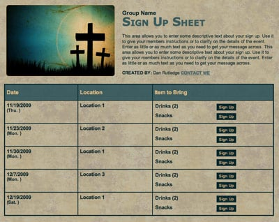 Church Usher Nursery Or Sunday School Volunteer Sign Up Sheet