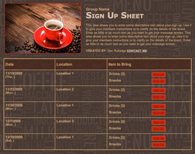 coffee java cafe cream latte espressso expresso cup of joe brown red meeting coffee beans fundraiser sign up form sheet invitation