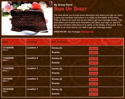 Dessert party potluck volunteer sign up form