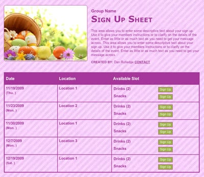 Easter spring classroom party sign up for volunteers