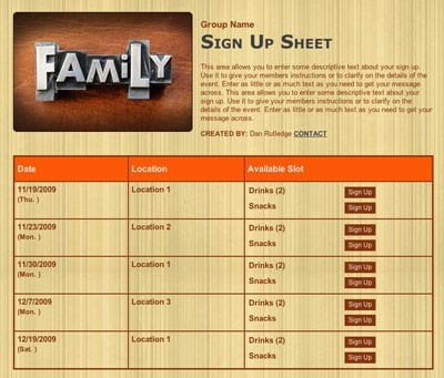 Family reunion event party sign up form