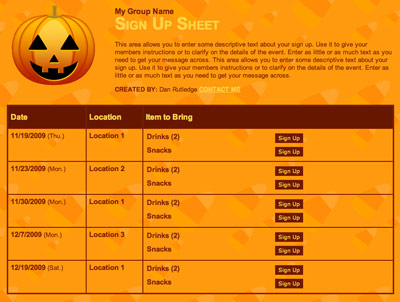 Halloween class classroom party volunteer sign up