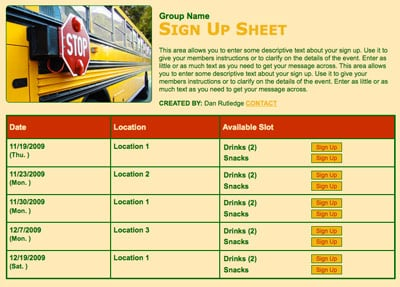 School bus field trip chaperone volunteer sign up