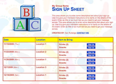 Toddler preschool school volunteer sign up sheet