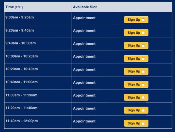 image of online sign up with time slots