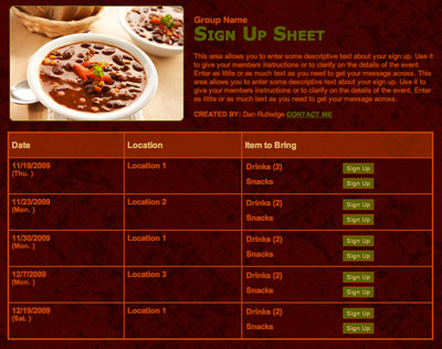 Potluck family chili meal online sign up form