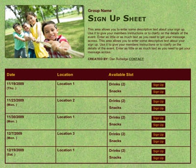 School field day class volunteer sign up sheet