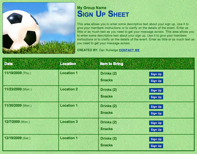 Soccer or futball snack and volunteer scheduling sign up