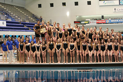 Carmel High School Girls' Swimming and Diving Team at State Finals