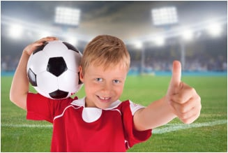 soccer kid with thumbs up