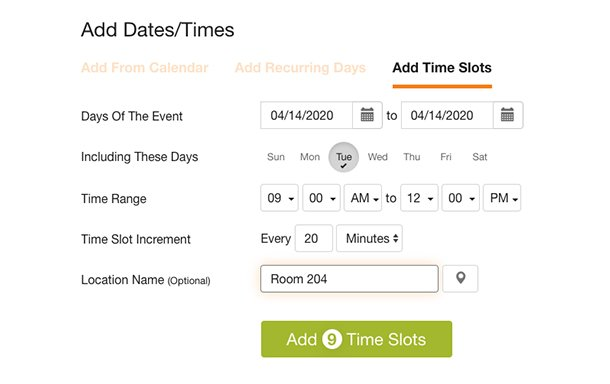 image from sign up wizard of add time slots feature