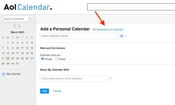 Subscribe to a Calendar option