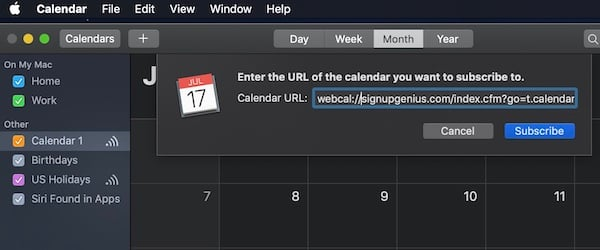 Calendar web address
