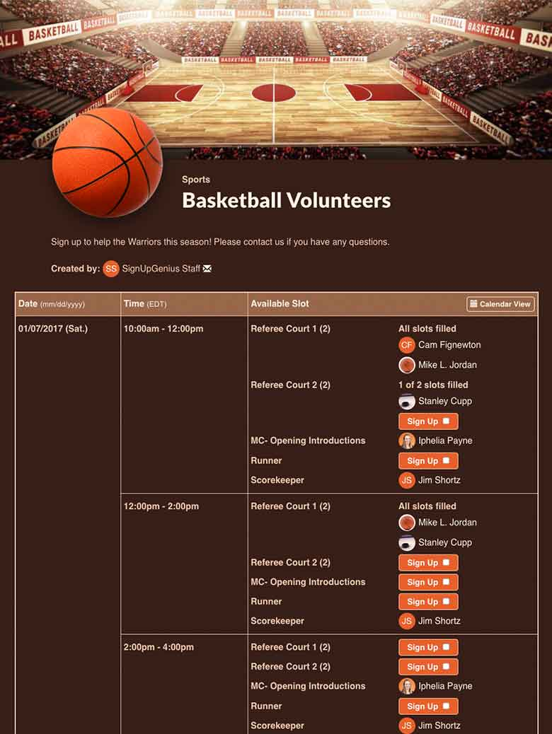 Sports sign up screenshot