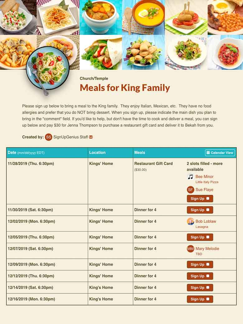 Meals sign up screenshot