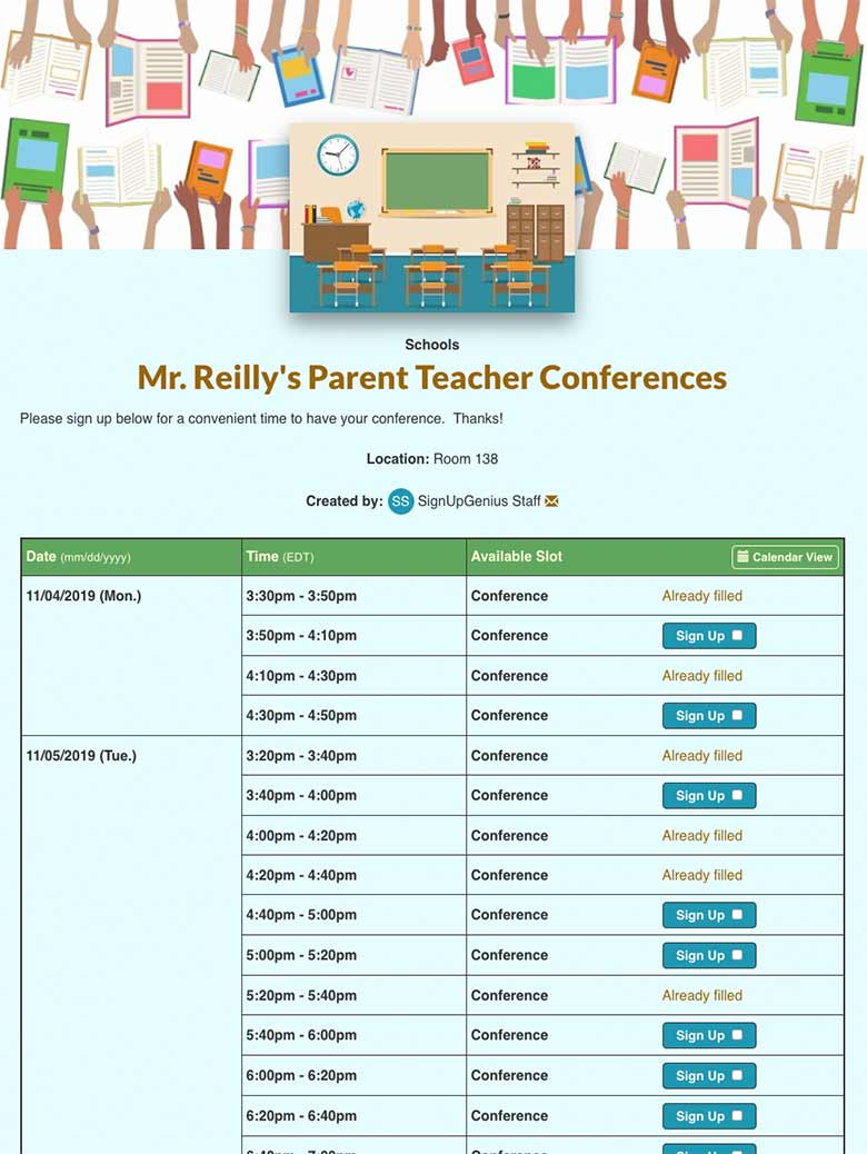 Parent teacher sign up screenshot