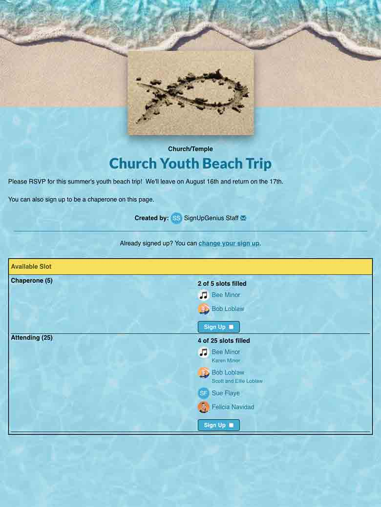 Church/Temple sign up screenshot