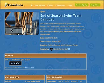 end of seaons swim team banquet sign ups