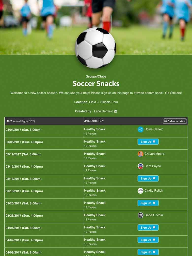 Online sign up sheets and forms for sports scheduling