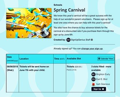 plan spring carnivals and fall festivals
