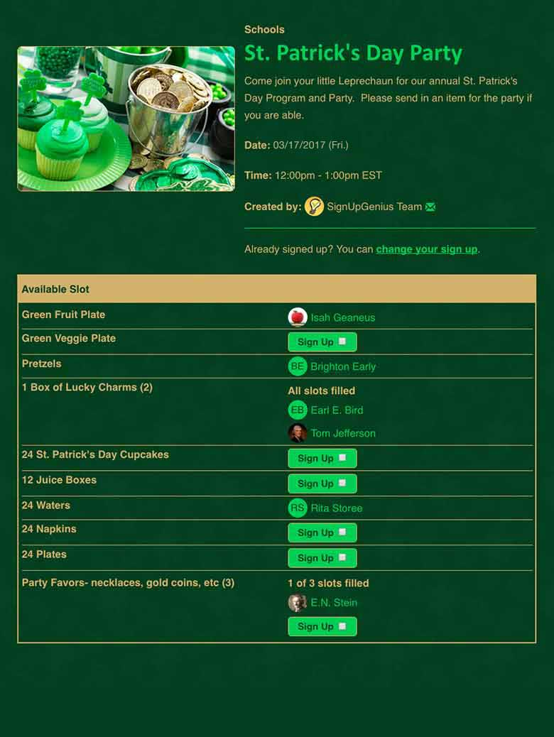 signupgenius com  free online sign up forms