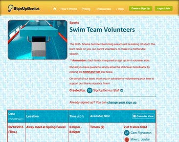 swim team volunteers sign up sheet