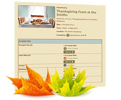 Thanksgiving Potluck Sign Up