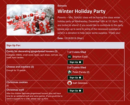 organize holiday parties