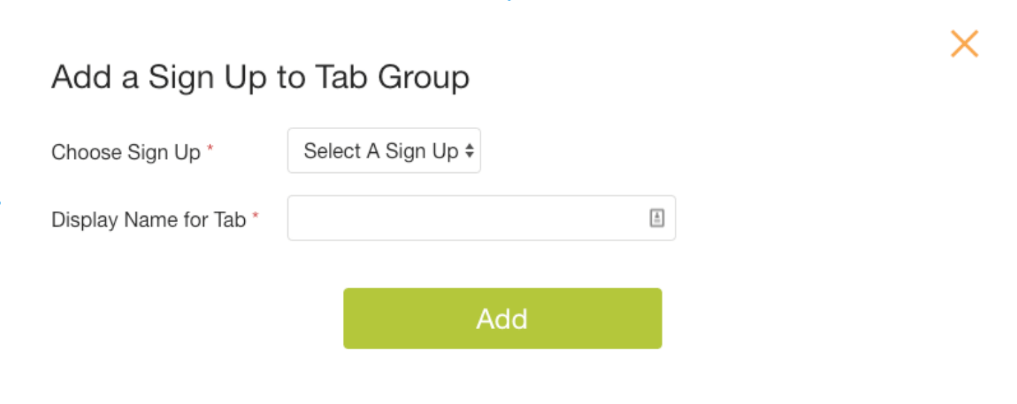 Add a Sign Up to Tab Group