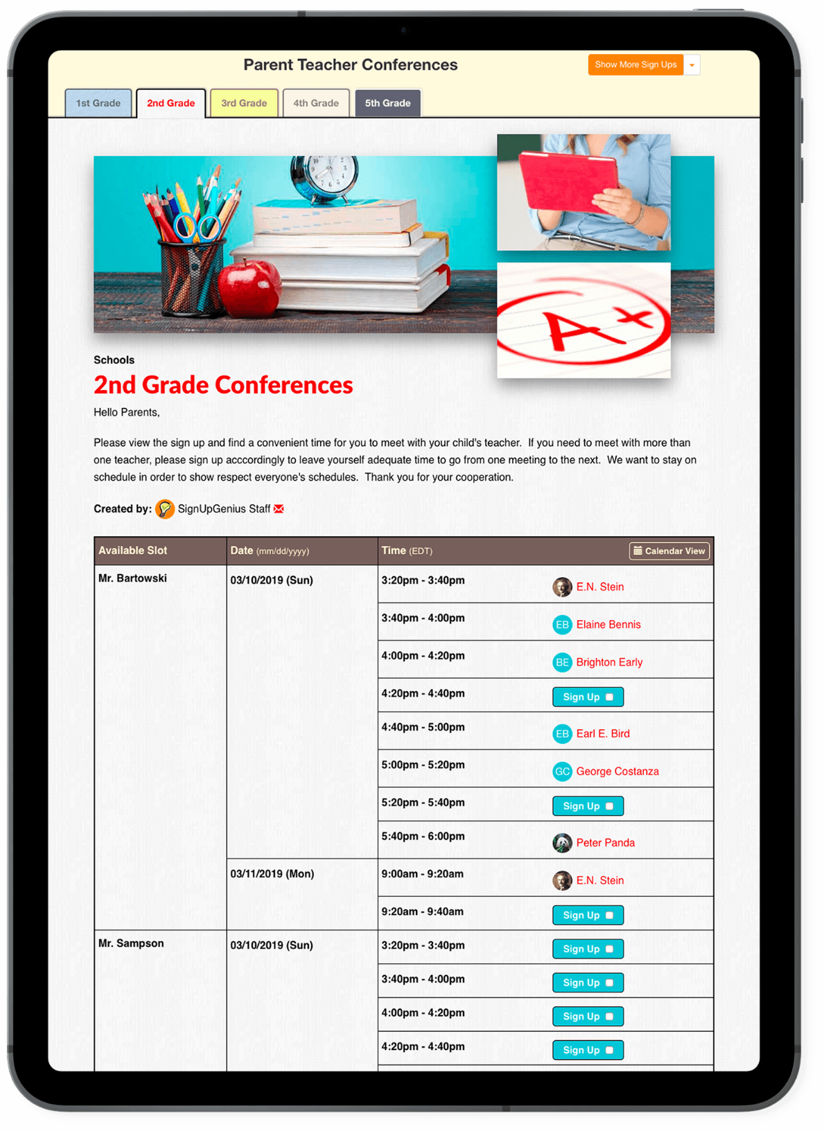 Parent Teacher Conference Sign Up on iPad