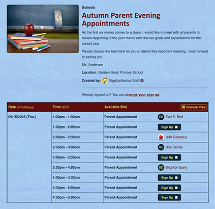 autumn parent evening appointments sign up