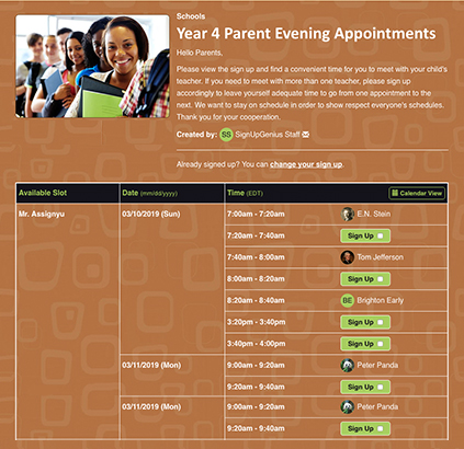 year four parent evening appointment sign up