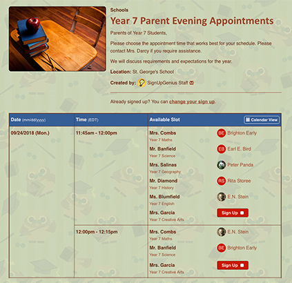year seven parent evening appointment sign up